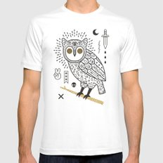 Hypno Owl Mens Fitted Tee White SMALL