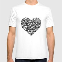 Skull Black Heart Mens Fitted Tee White SMALL