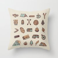 Lets Go Camping Throw Pillow