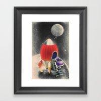 Rocketship Goes By Framed Art Print