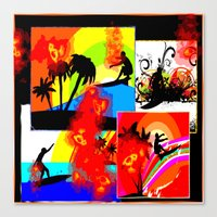 Posterized Surfing Collage Canvas Print