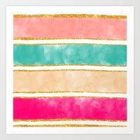 Modern Stripes Pink Red … Art Print