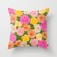 SMELL THE ROSES: -roses … Throw Pillow