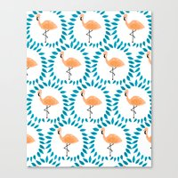 Flamingo And Leaves Canvas Print