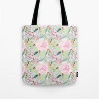 Shabby Chic Bluebirds and Roses Tote Bag
