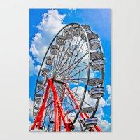 Red, White & Blue Ferris Wheel at the Fair Canvas Print
