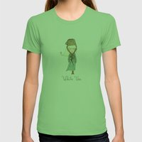 White Tea Girl Womens Fitted Tee Grass SMALL