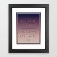 Live Fast   Typography Framed Art Print