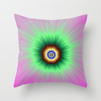 Explosion of Color in Pink and Green Throw Pillow