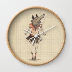 Woman Wolf at school Wall Clock