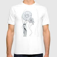 Flower Hair Mens Fitted Tee White SMALL