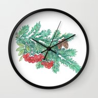 Pine Needles And Berries Wall Clock