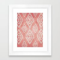 mint & coral tribal pattern (2) Framed Art Print