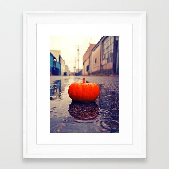Rainy day pumpkin Framed Art Print