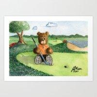 Golfer Bear Art Print
