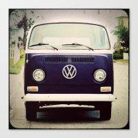 Blue VW Bus Canvas Print