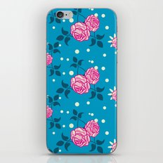 Roses on blue iPhone & iPod Skin