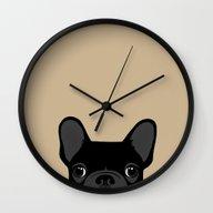 French Bulldog - Black O… Wall Clock