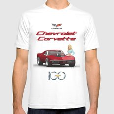 Corvette & Blonde SMALL White Mens Fitted Tee