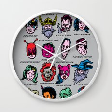 The Hall of Cliché Super Heroes Wall Clock