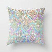 Jade & Blue Enamel Art Deco Pattern Throw Pillow