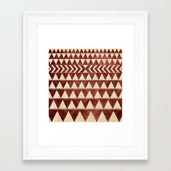 Vintage Material Triangles Framed Art Print
