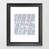 Grunge Blue stripes on white background illustration Framed Art Print