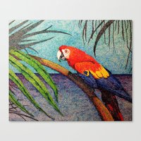 Canvas Print featuring POINTILLISM PARROT by One Pepinillo