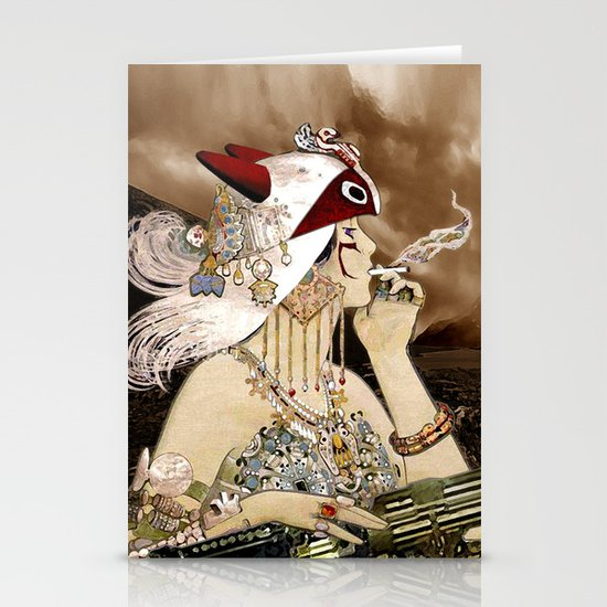 Chasing Smoke - Princess Mononoke Nouveau Stationery Card