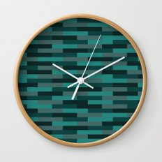 Teal Brick Wall Clock