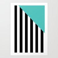 Triangle Stripes (Turquoise) Art Print