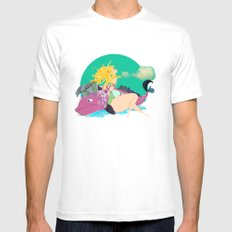 Beach Bum  Mens Fitted Tee White SMALL