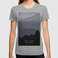 Misty morning at the Smoky's Womens Fitted Tee Athletic Grey SMALL