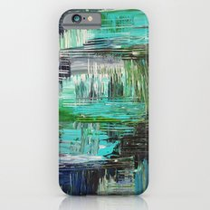 AQUATIC COMMOTION in Color - Textural Ocean Beach Nautical Abstract Acrylic Painting Wow Winter Xmas Slim Case iPhone 6s