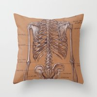 Jesse Young's Human Anatomy Drawing of Skeletal Structure of the Torso (Circa 2005) Throw Pillow
