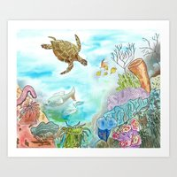 Turtle Reef Art Print
