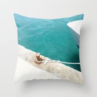 Boat Green Throw Pillow