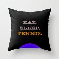 Eat. Sleep. Tennis. (White with Blue) Throw Pillow