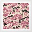 Toile de Jouy Rosas cálidas Art Print