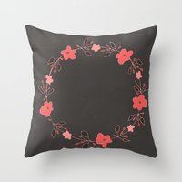 Coral Blossoms Throw Pillow