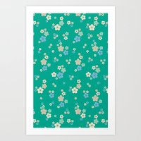 Blossom Ditsy In Emerald Art Print
