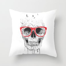 Skull with red glasses Throw Pillow