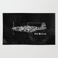 North American P51 Mustang (White) Rug