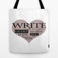 Write It On Your Heart Design Tote Bag