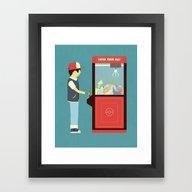Framed Art Print featuring Claw Machine by Teo Zirinis