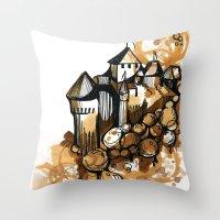 Castle float Throw Pillow