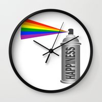 Happiness Spray Can - Rainbow Wall Clock