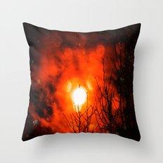Burning Moon Throw Pillow