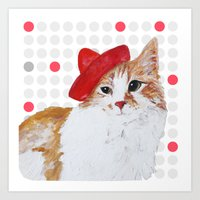 red hat cat  Art Print