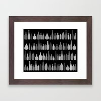 Bottles Black And White … Framed Art Print